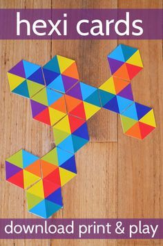 Free Printable hexi card game to learn colors and make fun patterns. Use them just like Dominos!