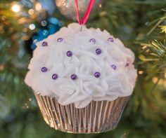 Adorable felt cupcake ornament