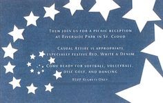 4th of July Themed Wedding --- Blue and white stars invitation to the wedding reception, held at a local park. (View #8)