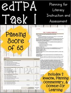 edTPA Task 1 resource This resource is exactly everything I turned in to the edTPA (Education Teacher Performance Assessment). It includes: ELE Commentary for Learning, the Planning Commentary, and the one required lesson plan. Teacher Education Program, Student Teacher, Teacher Pay Teachers, Teacher Stuff, Instructional Strategies, Teaching Strategies, Teaching Resources, Teaching Ideas, Classroom Inspiration