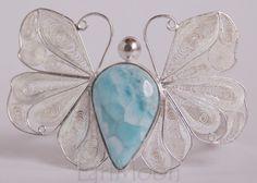 Liberty Butterfly Filigree Larimar Sterling Silver Bracelet