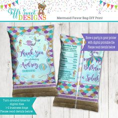 Mermaid  Birthday Party Personalized Favor Bag - Candy Bag - Chip Bag - Goody Bag - Party Bag - Loot Bag - DIY Printing 50th Birthday Wishes Funny, Happy Birthday Flowers Wishes, Birthday Celebration Quotes, Happy Birthday Quotes, Birthday Cake Kids Boys, Happy Birthday Husband, Birthday Cards For Women, Handmade Birthday Cards, Birthday Party Invitations