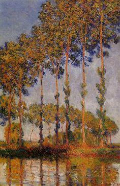 Une rangée de peupliers, huile sur toile de Claude Monet (1840-1926, France)