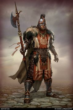 EX.GODS by Grafit, via Behance I like it, but I cant decide what this looks like... maybe some warrior from one of the tribes that became a mercenary in the west or with the ironmen and rose in rank...?