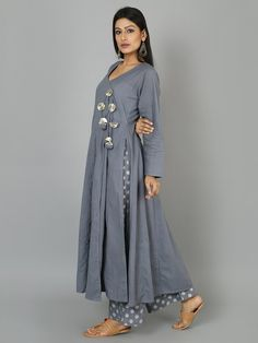 Grey Blue Cotton Anarkali Suit