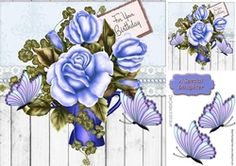 blue roses with butterflies  in a vase and wood effect 8x8 on Craftsuprint - View Now!