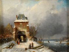 Leickert, Charles Henri J. 1816 Brüssel - 1907 Mainz Wintertag am Stadttor. Signiert. Öl/Mahagon