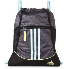 Adidas Grey & Light Blue Alliance Sack Pack ($9.99) ❤ liked on Polyvore featuring bags, drawstring bag, gray bag, light blue bag, adidas and shoulder strap bag