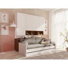 Compact Twin XL Sofa bed and Cabinets Wall System Space Saving Furniture, Sofa Furniture, Furniture Design, Furniture Ideas, Resource Furniture, Furniture Stores, Sofa Bed With Trundle, Bed Couch, Daybed