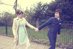 1960s mod inspired engagement shoot, shot in Brighton.  Photography by http://www.celinechaplinphotography.com