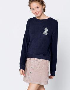 Pull&Bear - mujer - ropa - best sellers ❤ - sudadera parche - marino - 09591304-I2016