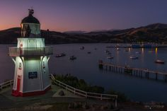 A romantic evening at the Akaroa Lighthouse at dawn.