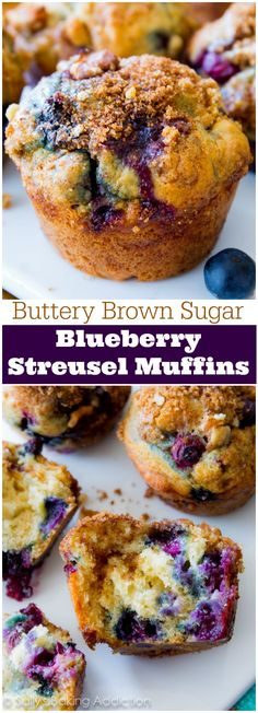 My favorite blueberry muffins! Buttery and moist, these fruity muffins are heavy on the brown sugar streusel and juicy blueberries.