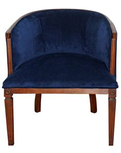 Vintage Blue Velvet Reupholstered Barrel Chair on Chairish.com