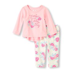Baby Girl's Long Sleeve 'Pretty In Every Way' Top & Floral Print Jeggings Set