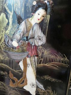 """Painting of Asian woman on textured background signed Birnard, back framing label says 11/11, 24""""Tx21""""W. Intricately carved boat from Australia, Heavy 4 panel wood piece with carved ladies on each panel 36""""Tx48""""W."""