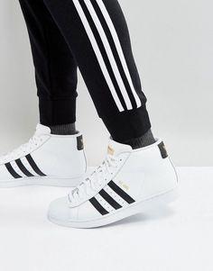 dbd4e0707a7 adidas Originals Pro Model Mid Sneakers In White S85956