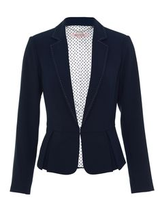 A stylish blazer jacket with a feminine touch, the Jenner Jacker features navy material with white stitched detailing along elegantly tapered lapels, and pleats that rest alluringly on the waist. Spice up your office style, or sashay into the night. Lapels, Office Style, Office Fashion, Look Fashion, My Wardrobe, Blazer Jacket, Beautiful Outfits, Knitwear, Spice