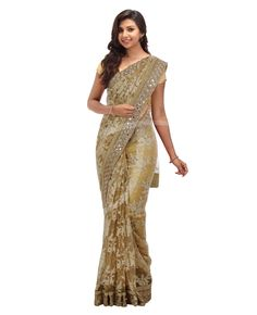 Chikoo color net fancy saree with light chikoo color embossed thread works
