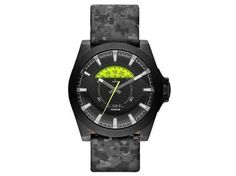 DIESEL DZ1658 MEN'S OVERSIZED ARGES CAMOUFLAGE LEATHER BAND BLACK DIAL WATCH NWT #Diesel #Fashion
