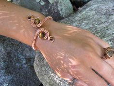 Tigers Eye Copper Wire Double Spiral Bracelet by TheHempChick, $60.00