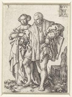 Heinrich Aldegrever | Dansend paar, Heinrich Aldegrever, 1551 | Man met bontmantel om en opgeheven rechterbeen, dansend hand in hand met een vrouw. Uit een serie van acht prenten met dansende bruiloftsgasten.