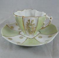 Vintage Mint Green & Gold Floral Porcelain Demitasse Cup & Saucer Flowers 274