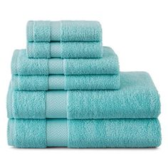 Bring a fresh look and feel to your bathroom decor with our soft and absorbent Aruba Blue 6-pc. Bath Towel Set. Made of highly absorbent soft, easy-care cotton. $60 Sale $29.99. Buy here.