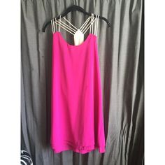 Strappy back dress hot pink, layered bottom GG Boutique Dresses Midi
