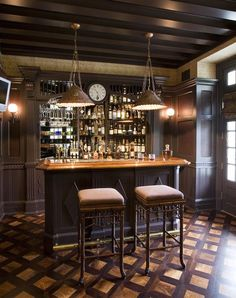 Bar Couture |Maureen Petrosky Lifestyle-- such a perfect bar for the man cave basement... could be a great way to build a 'guilty' space into my healthy restaurant concept.