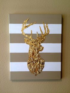 11 x 14 Acryl Blattgold Gemälde von Hirsch Kopf auf gestreiftem Canvas
