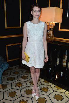 White shoes white dress yellow clutch