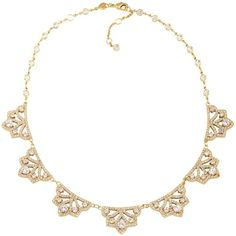 Carolee Bryant Park Openwork Frontal Necklace, 16 ($160) ❤ liked on Polyvore featuring jewelry, necklaces, gold, carolee necklace, gold necklace, collar jewelry, yellow gold jewelry and gold jewellery