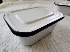Enamel England イギリスアンティークホーロー缶白ネイビー インテリア 雑貨 家具 Antique ¥2600yen 〆05月25日