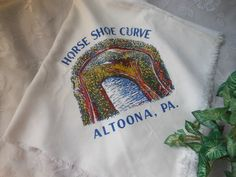 Items similar to Altoona PA Horse Shoe Curve Scarf Silk Satin Souvenir White Vintage at Quilted Nest on Etsy Cute Modest Outfits, Yellow Quilts, Vintage Scarf, Silk Scarves, Silk Satin, Vintage Designs, Nest, Mens Tops, Content