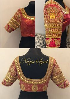 Temple Work Bridal Blouse- Nazia Syed 9790826888
