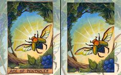 Scarab Beetle Print, Rainbow Illustration, 8x10 Wall Art, Ace of Pentacles Tarot Card, Beetle Wings, Nature Decor, Animism Tarot Deck