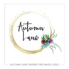 This listing is for a customizable pre-made Gold Circle & Floral Logo H29. Put your company's name on it today!