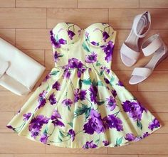 Vintage Bustier Dresses Summer Spring Floral $30