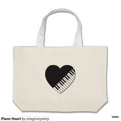Piano Heart Jumbo Tote Bag