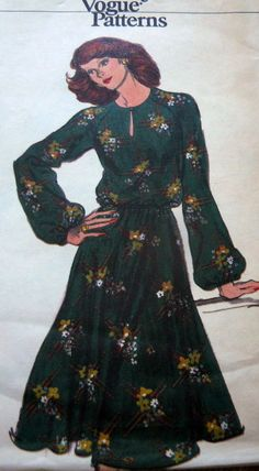 LOVELY VTG 1970s DRESS VOGUE Sewing Pattern 14/36 I believe this style is 1980s