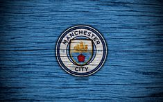 Download wallpapers Manchester City, 4k, Premier League, logo, England, wooden texture, FC Manchester City, soccer, Man City, football, Manchester City FC