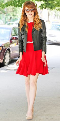 Emma Stone sizzled in a red-hot Giambattista Valli fit-and-flared dress with lips embroidered at the waist and neckline. She completed her look with statement shades, a leather blazer, and nude pumps. Emma Stone Style, Star Fashion, Trendy Fashion, Fashion Looks, Latest Fashion, Fashion Trends, Blazer En Cuir, Leather Blazer, Black Leather