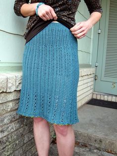 Vertically crocheted skirt- looks like its done with Mary Jane Hall's Graduated Stitch Method, without increases or decreases, from her book Crochet That Fits