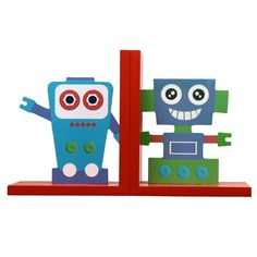 Furnistar Set of 2 Decorative Child's Wood Bookends, Red