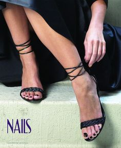 This NAILS Magazine poster features an elegant woman with black nail polish on her feet. - $1