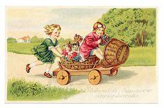 Boy w goggles drives go cart w cats n girl postcard