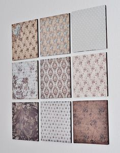 love easy diy. either wall paper samples, designed scrapbooking paper, or fabric remnants