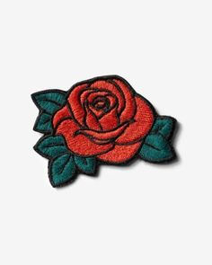 red rose iron-on patch