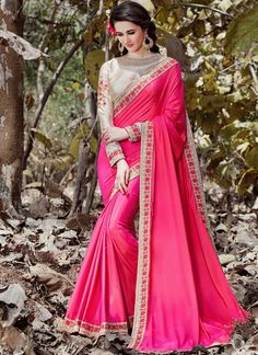 Buy online latest designer wedding sarees. Order this sumptuous faux crepe and faux georgette classic designer saree for festival and party.